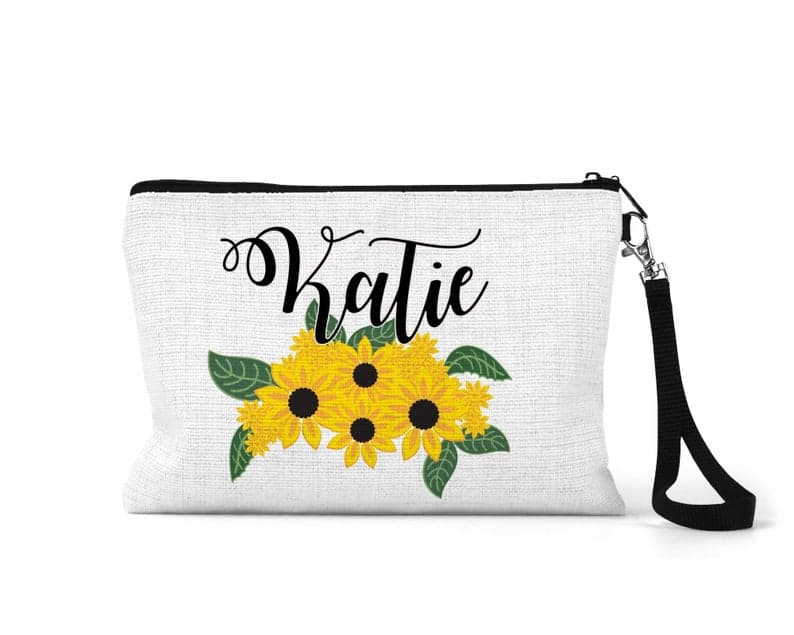 personalized sunflower makeup bag