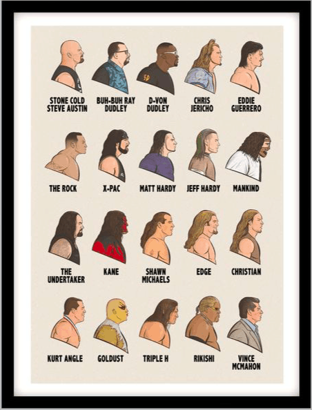 WWE attitude era poster makes a great gift for wrestling fans