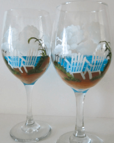 handpainted beach wine glasses