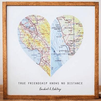 Map Art long term friendship gifts