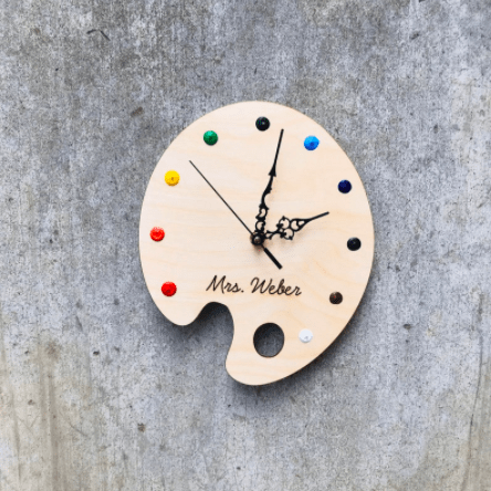custom art clock paint palette gift for artists